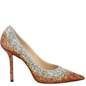 Jimmy Choo Copper/Silver Love 100 Glitter Pumps Size IT 39
