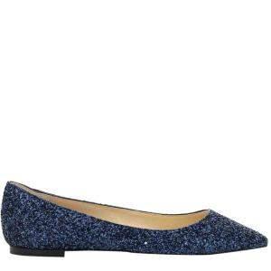 Jimmy Choo Navy Glitter Romy Flats Size IT 36
