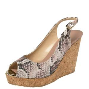Jimmy Choo Two Tone Python Embossed Leather Prova Cork Slingback Wedge Sandals Size 39