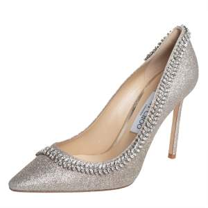 Jimmy Choo Silver Coarse Glitter Romy Crystal Embellished Pumps Size 39
