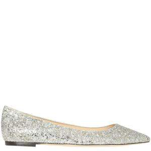 Jimmy Choo Beige Dust Glitter Romy Ballerinas Size IT 38