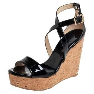 Jimmy Choo Black Patent Leather Portia Cork Wedge Cross Strap Sandals Size 39