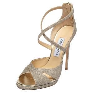 Jimmy Choo Gold Glitter Lorina Ankle Strap Sandals Size 39.5