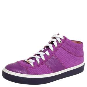 Jimmy Choo Purple Textured Suede And Leather Belgravia High Top Sneakers Size 40