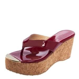 Jimmy Choo Maroon Patent Leather Pathos Thong Cork Wedge Slides Size 36.5