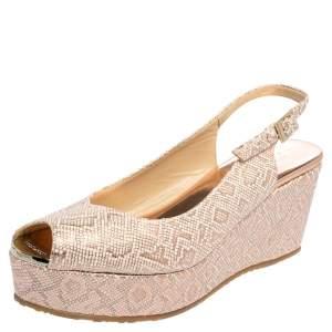 Jimmy Choo Beige/Brown Printed Leather Wedge Slingback Sandals Size 39