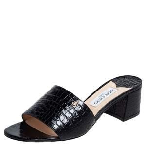 Jimmy Choo Black Croc Embossed Patent Leather Minea Slide Sandals Size 41