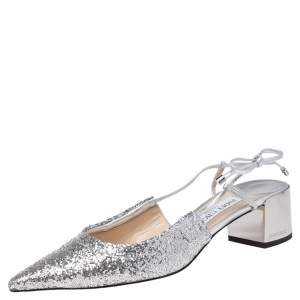 Jimmy Choo Silver Glitter and Leather Gemista Slingback Sandals Size 38.5