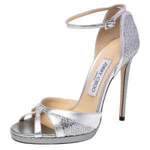 Jimmy Choo Silver Leather and Glitter Talia Ankle Strap Sandals Size 37