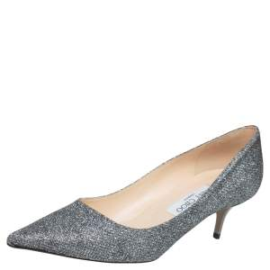 Jimmy Choo Silver Lurex Fabric Romy Pointed Toe Pumps Size 39