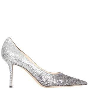 Jimmy Choo Grey Love Silver Glitter Love 85 Pumps Size IT 39