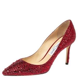 Jimmy Choo Red Crystal Embellished Romy Pumps Size 40