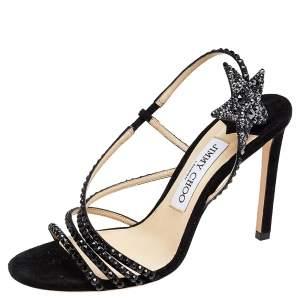 Jimmy Choo Black Suede Crystal Embellished Lynn Slingback Sandals Size 36.5