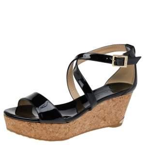 Jimmy Choo Black Patent Leather Portia Cork Wedge Crisscross Strap Sandals Size 38