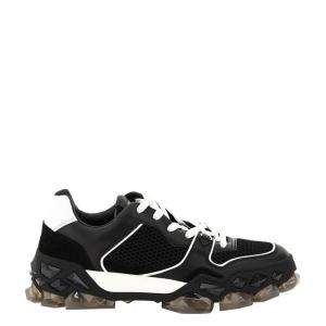 Jimmy Choo Black Calf Leather, Crosta Suede and Printed Nylon Diamond X Trainer/F Sneakers Size IT 39