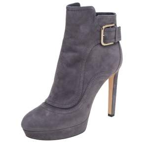 Jimmy Choo Grey Suede Britney Ankle Boots Size 39.5