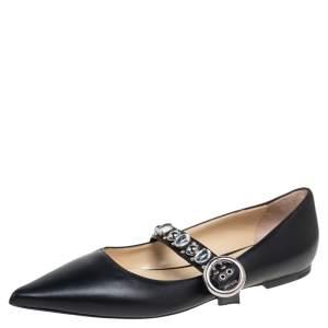 Jimmy Choo Black Leather Gela Ballet Flats Size 38.5