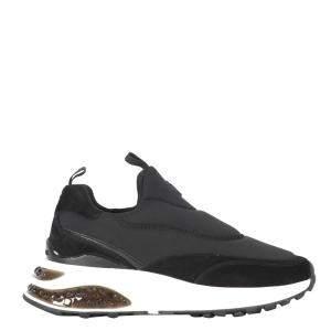 Jimmy Choo Black Leather Neoprene Memphis Sneakers Size EU 36
