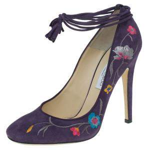 Jimmy Choo Purple Suede Embroidered Chelan Tie Up Pumps Size 40