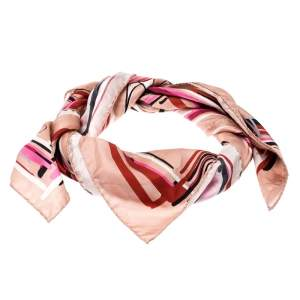 Jimmy Choo Pink Beige Mix Shoes Printed Silk Scarf