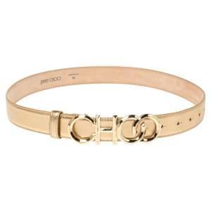 Jimmy Choo Metallic Gold Leather Choo Belt 74CM