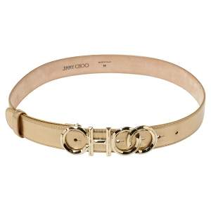 Jimmy Choo Metallic Gold Leather Choo Logo Buckle Waist Belt Size M