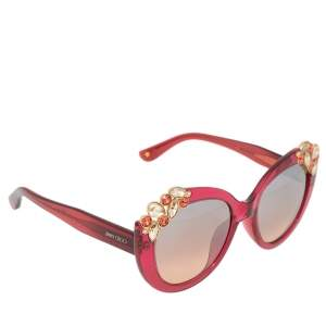 Jimmy Choo Pink Acetate Megan Jewel Embellished Cat Eye Sunglasses