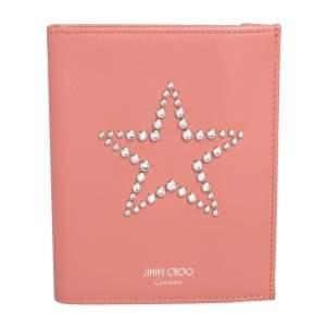 Jimmy Choo Peach Leather Analya Passport Holder