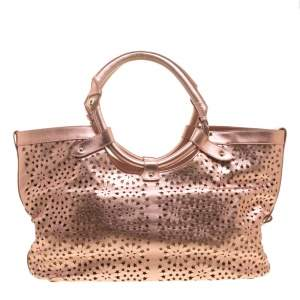 Jimmy Choo Metallic Rose Gold Leather Laser Cut Out Open Tote