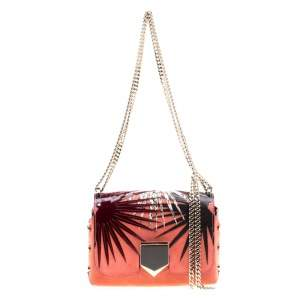 Jimmy Choo Fire Orange Suede and Patent Leather Petite Lockett Shoulder Bag