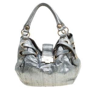 Jimmy Choo Silver Python Embossed Leather Riki Tote
