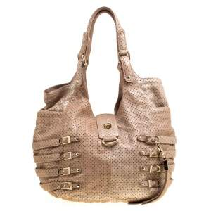 Jimmy Choo Gold Perforated Leather Bardia Buckle Shoulder Bag