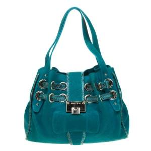 Jimmy Choo Turquoise Python Embossed Leather and Snake trim Riki Tote