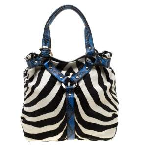 Jimmy Choo Multicolor Zebra Print Calfhair and Snakeskin Trim Odette Shopper Tote