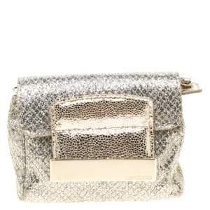 Jimmy Choo Gold and Silver Glitter Fabric Mini Rebel Crossbody Bag