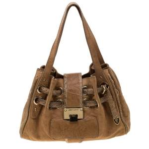 Jimmy Choo Tan Leather and Snakeskin Trimmed Ramona Tote