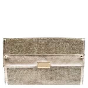 حقيبة كلاتش جيمي تشو كونتيننتال ريسي غليتر وجلد ميتالك ذهبية