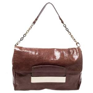 Jimmy Choo Brown Lizard Embossed Leather Carolina Shoulder Bag
