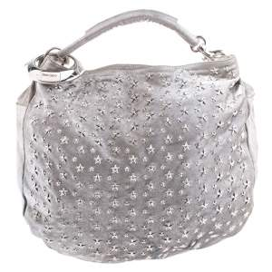 Jimmy Choo Silver Leather Star Studded Sky Bangle Hobo