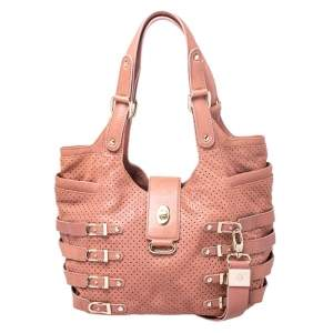 Jimmy Choo Nude Pink Perforated Leather Bardia Buckle Shoulder Bag