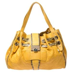 Jimmy Choo Yellow Leather Python Trimmed Riki Tote