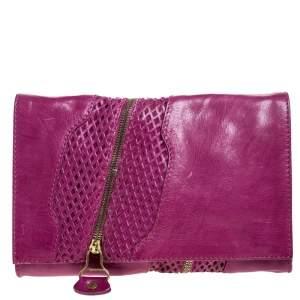 Jimmy Choo Purple Leather Flap Clutch