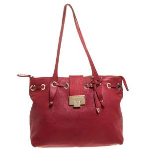 Jimmy Choo Red Leather Rhea Tote