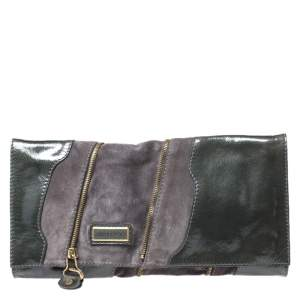 Jimmy Choo Grey Patent Leather and Suede Flap Clutch