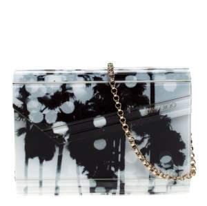 Jimmy Choo Black/White Printed Acrylic Candy Clutch Bag