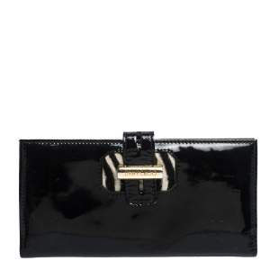 Jimmy Choo Black Patent Leather Continental Wallet
