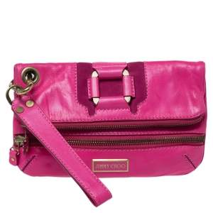Jimmy Choo Neon Pink Leather Mave Foldover Clutch