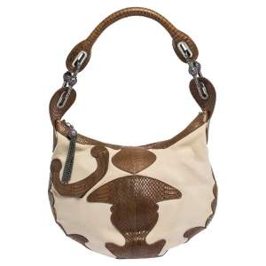 Jimmy Choo Brown/Ivory Python and Canvas Hobo