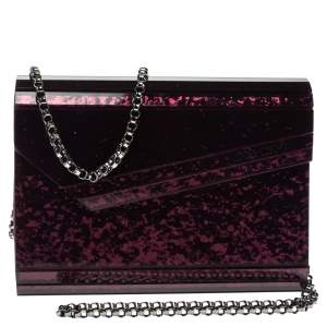 Jimmy Choo Burgundy Glitter Acrylic Candy Clutch Bag