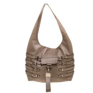 Jimmy Choo Beige Textured Leather Bardia Buckle Hobo